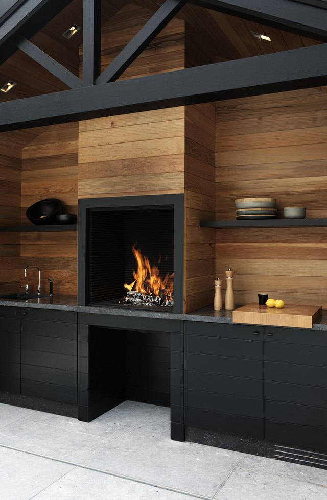 fireplace outdoor kitchen
