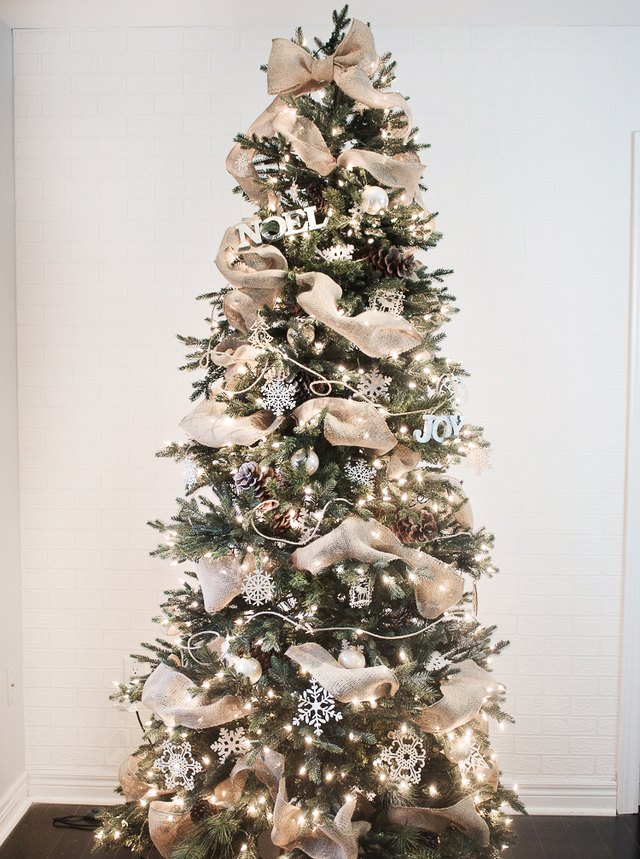ribbon tucked onto tree - How To Decorate A Christmas Tree With Ribbon