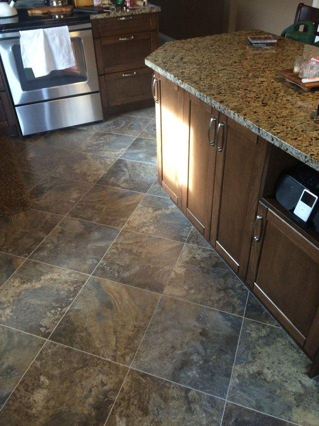 Slate-like engineered stone floor tile