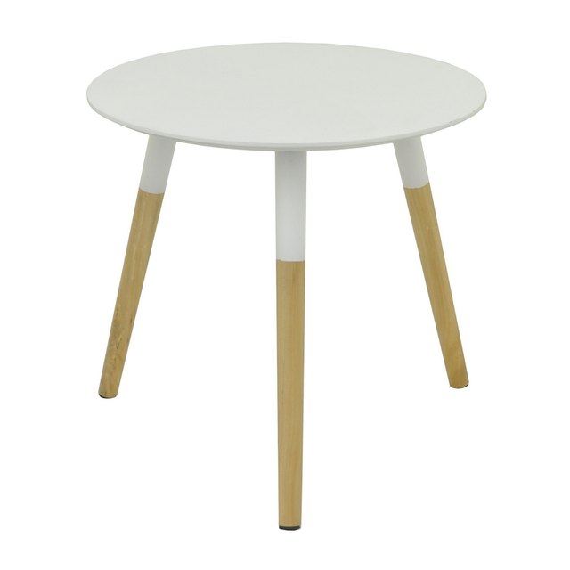 Small round natural wood mid-century side table with white, paint-dipped top