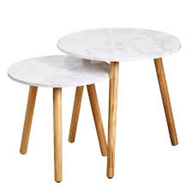 Pair of white and wood round mid-century nesting tables