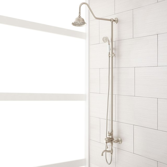 shower remodel ideas signature hardware white modern shower traditional exposed shower head faucet