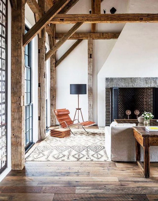eclectic wood ceiling beams