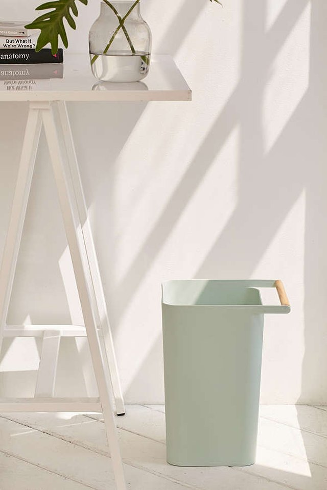 mint green rounded edge square trashcan with wooden handle