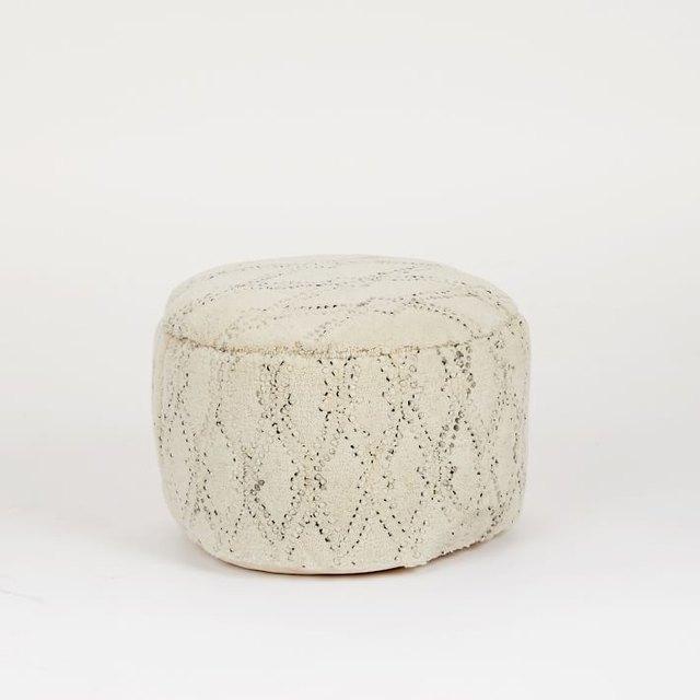 White pouf with subtle black design
