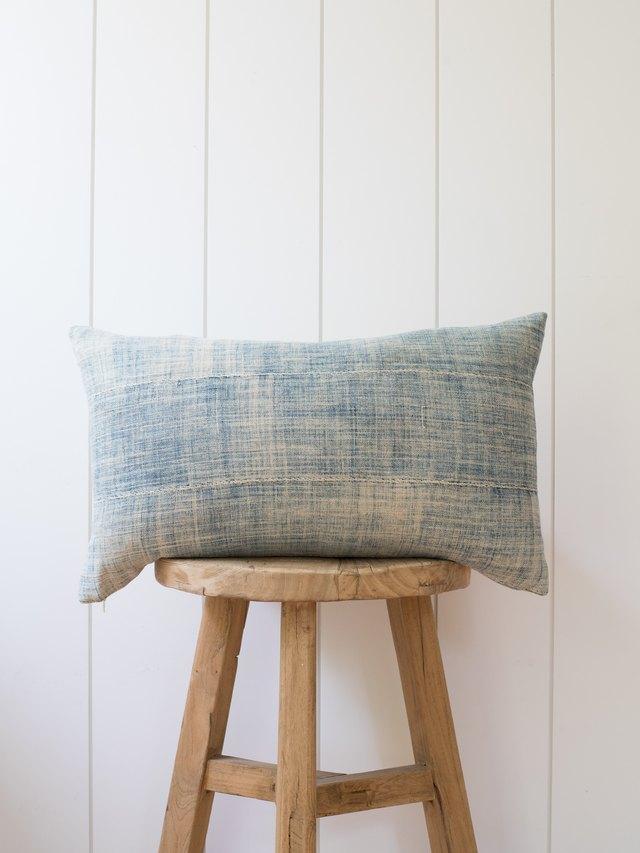 Faded indigo lumbar pillow