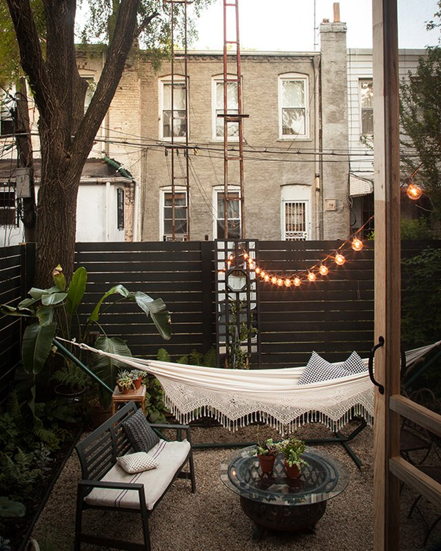 backyard with string lights