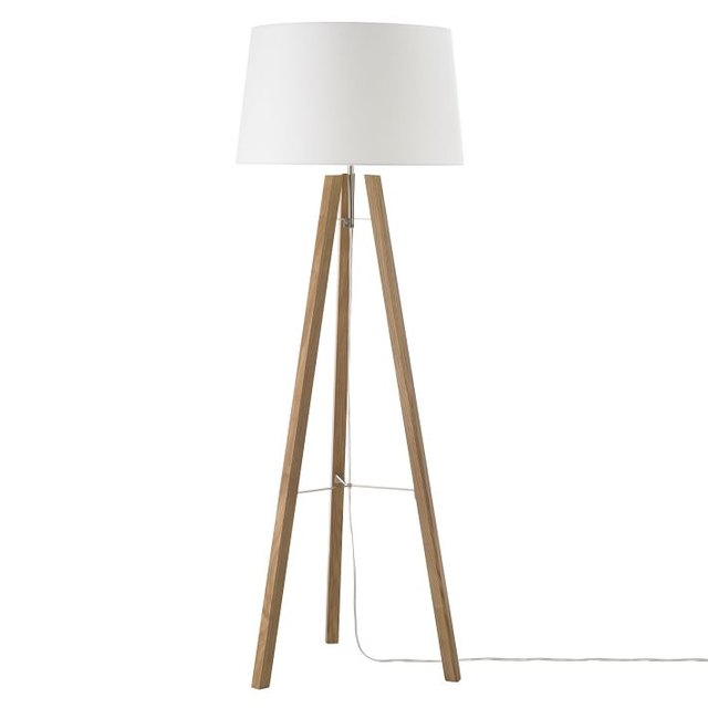 Mid-century floor lamp with natural wood tripod base