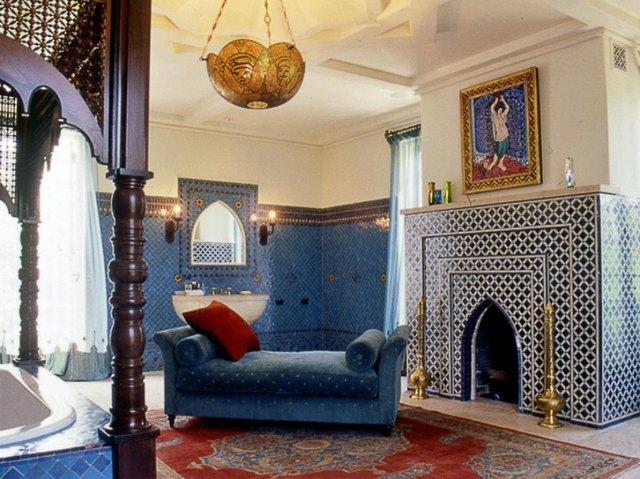 zellige tile fireplace surround