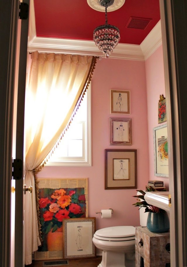 pink and red powder room