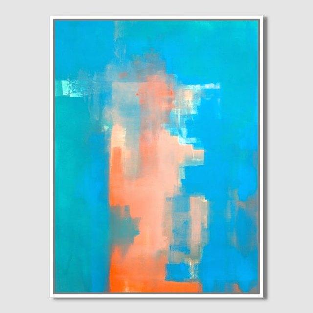 blue and orange painting