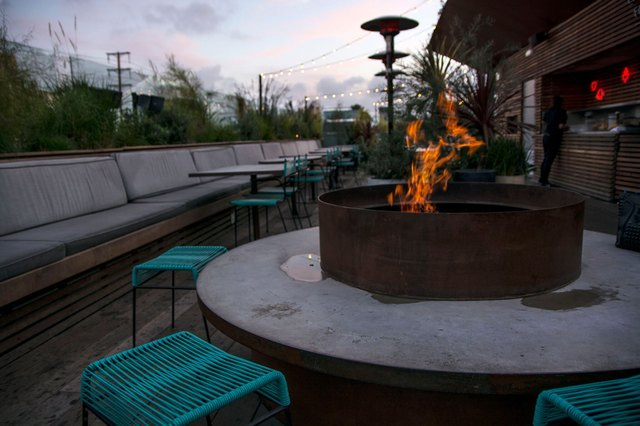 Rooftop bar fire pit.