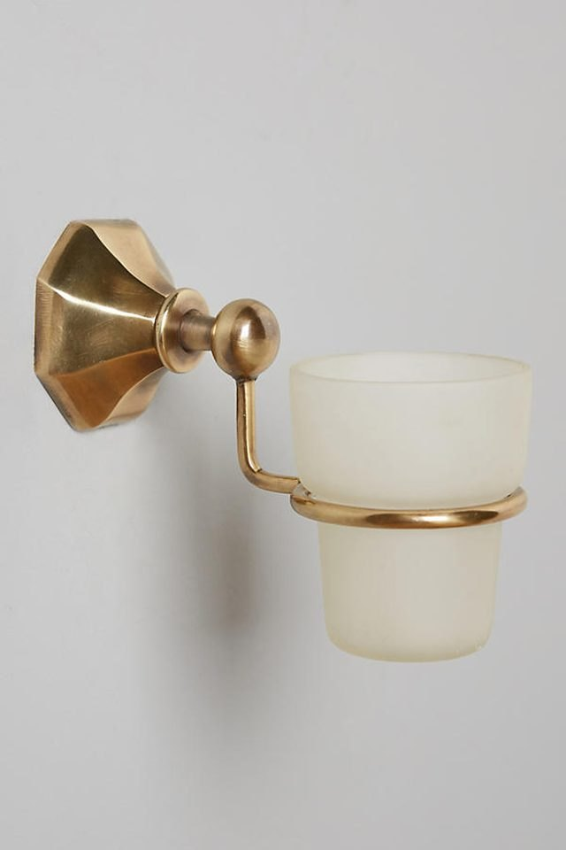 brass wall-mounted soap tumbler