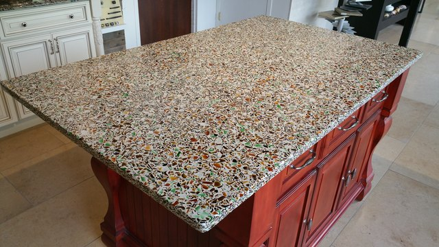 Colorful recycled glass countertop