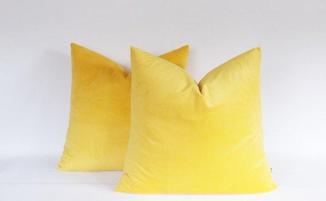 Yellow velvet throws