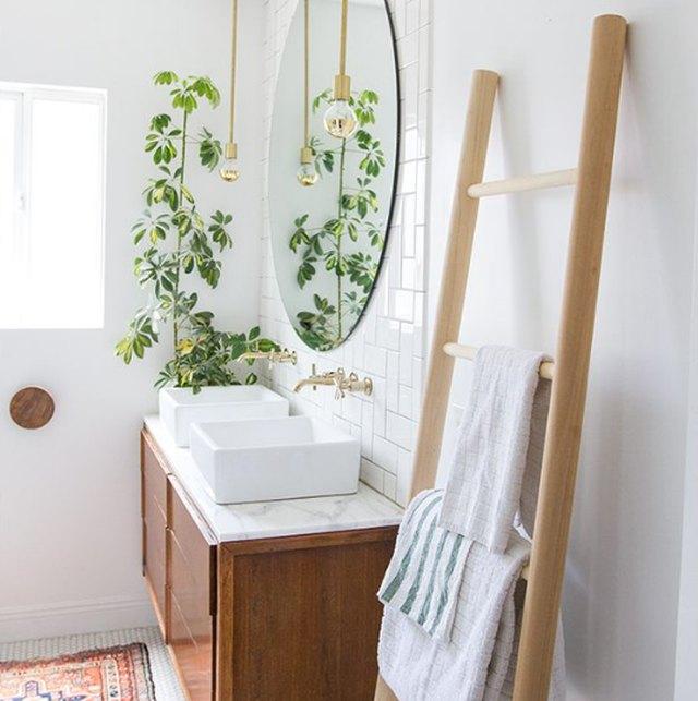 towel ladder in bathroom