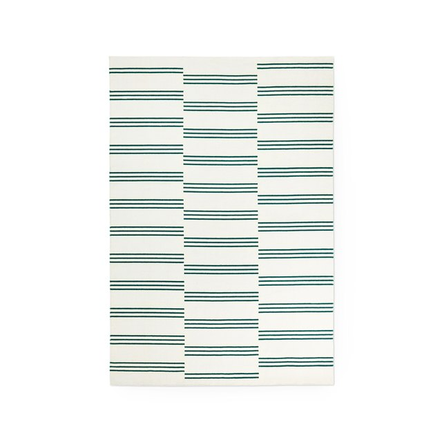 Cream and green striped rug