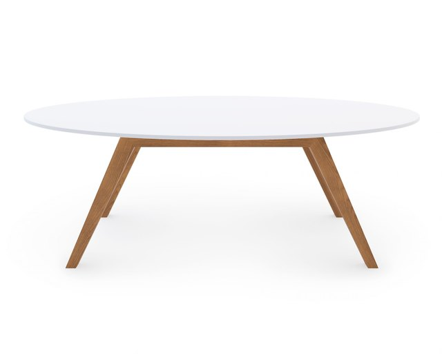 White and wood round mid-century coffee table