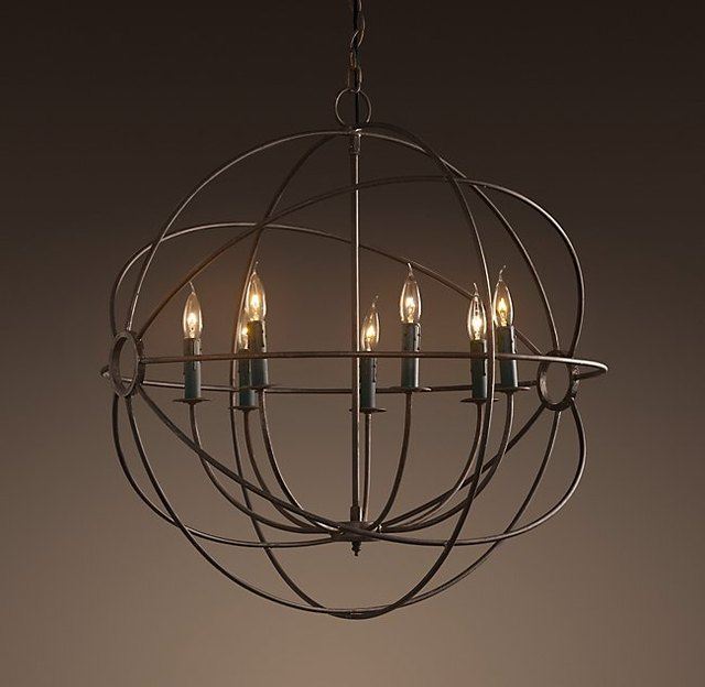 black iron foucault's orb chandelier