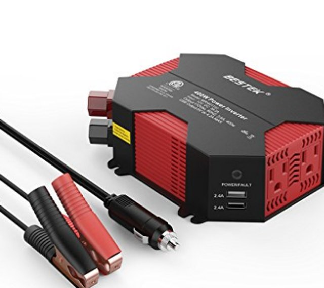 A 12-volt power inverter with two outlets.