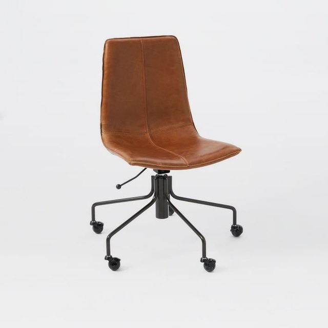 Minimal armless medium-brown leather swivel chair