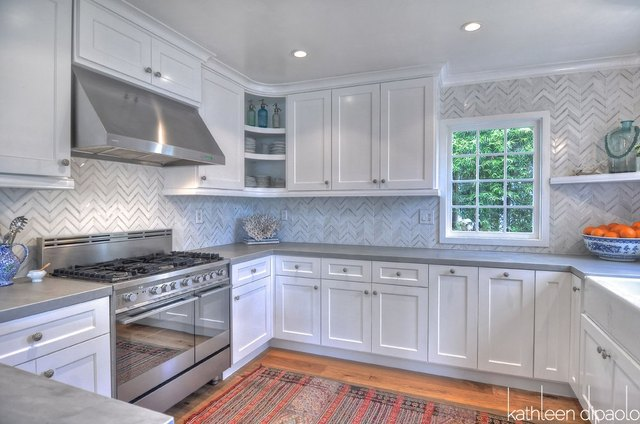 A Large Kitchen With Zinc Countertops