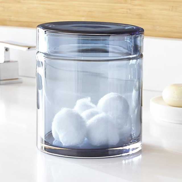 crate & barrel blue glass container