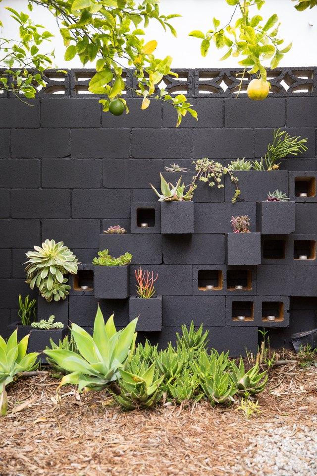 cinderblock garden wall