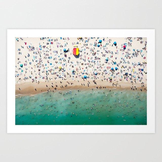 artwork scene of a busy beach