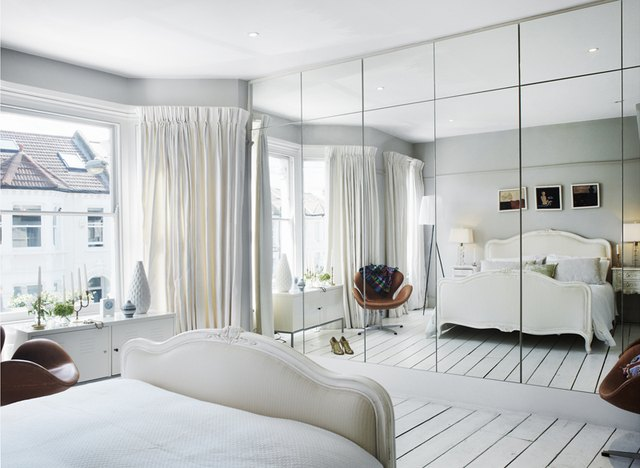 small space decorating scandinavian bedroom with mirrors