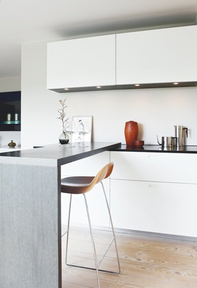 crate and barrel counter stool in minimalist Scandinavian kitchen