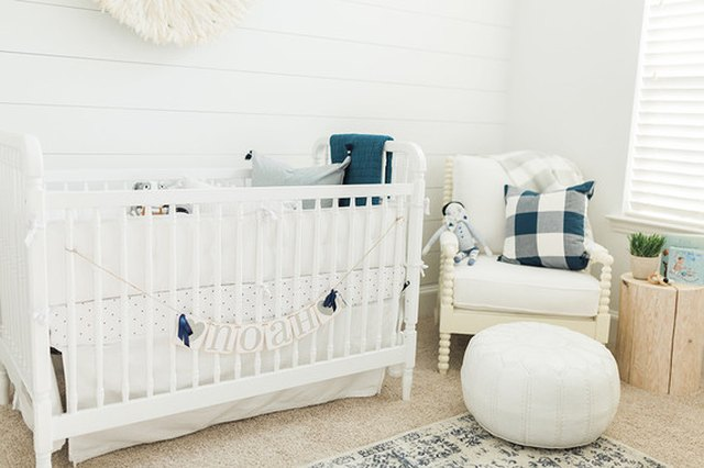neutral nursery pops of blue