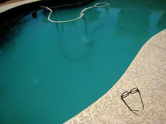 Murky pool water.