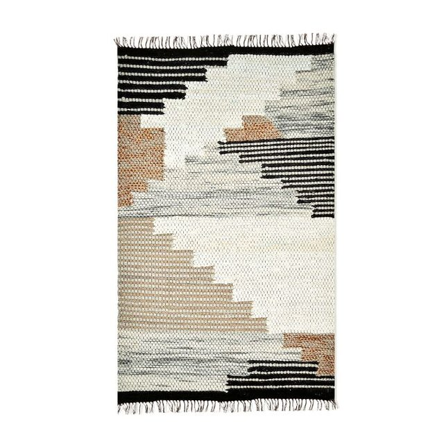 Gray black and beige wool area rug