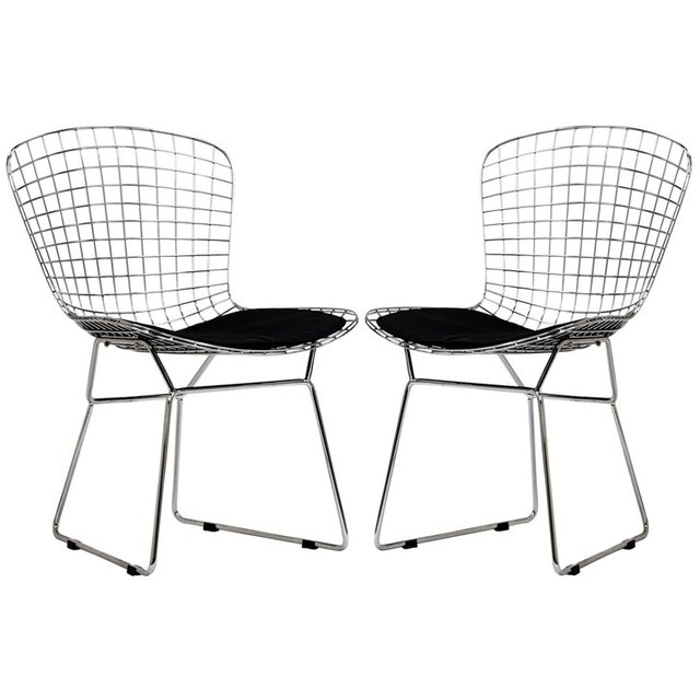 Pair of silver wire dining chairs, armless, with black seat