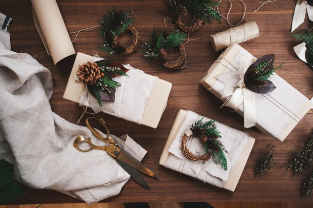 gift wrapped in linen