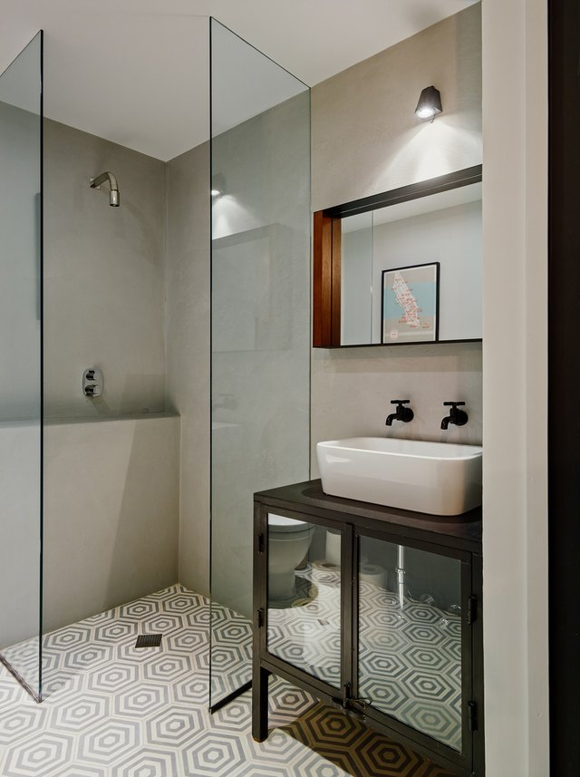 Photo Of Bathroom With Glass Walk In Shower.