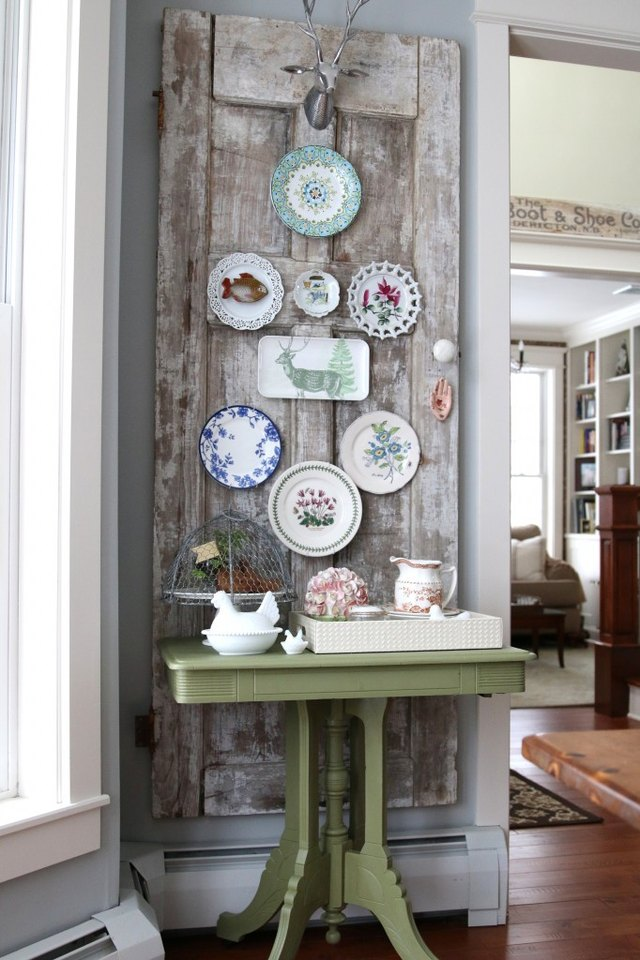 shabby chic plate wall