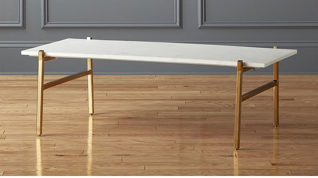 Small minimal coffee table with white marble top and brass legs