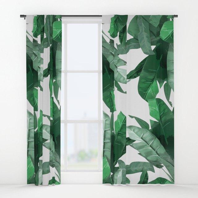 Society6 printed leaf curtains.