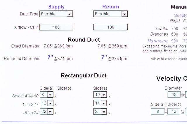 Use The Duct Calculator See References And Calculate Needed Flex Size Select Type On Pull Down Input Required Cfm