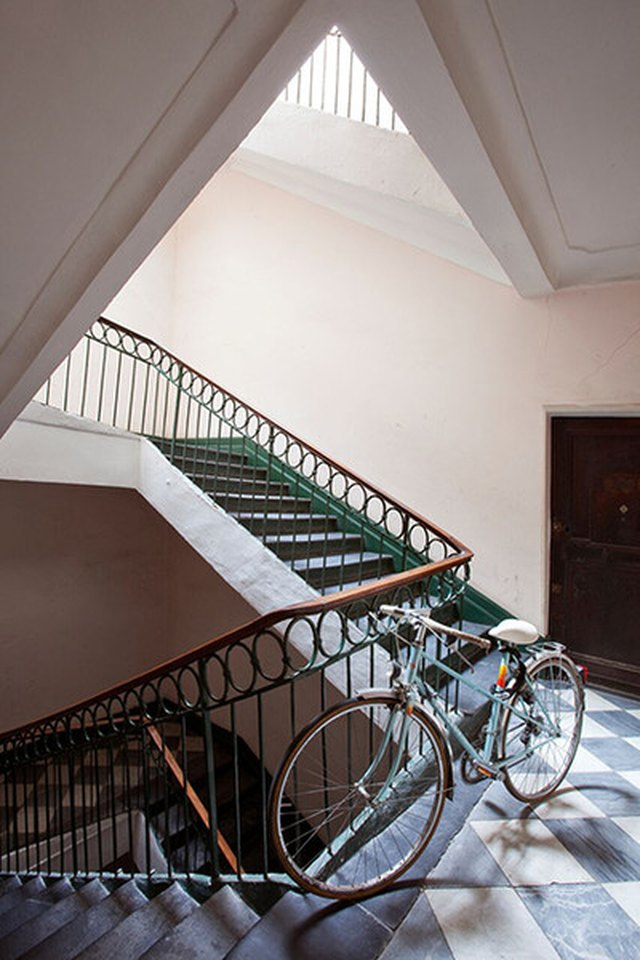 green trimmed stairs