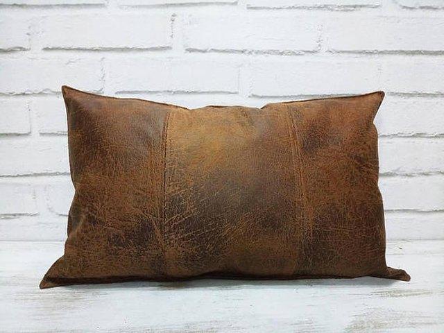 Distressed medium brown leather lumbar pillow