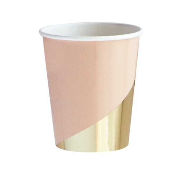 Blush and Gold Paper Cups