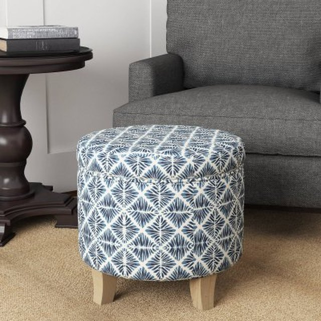 storage ottoman with blue and white geometric pattern