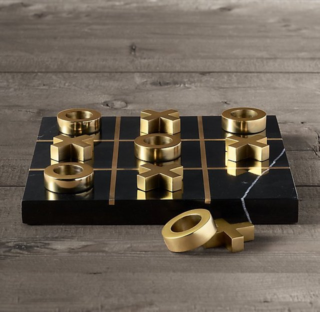 marble and brass tic-tac-toe
