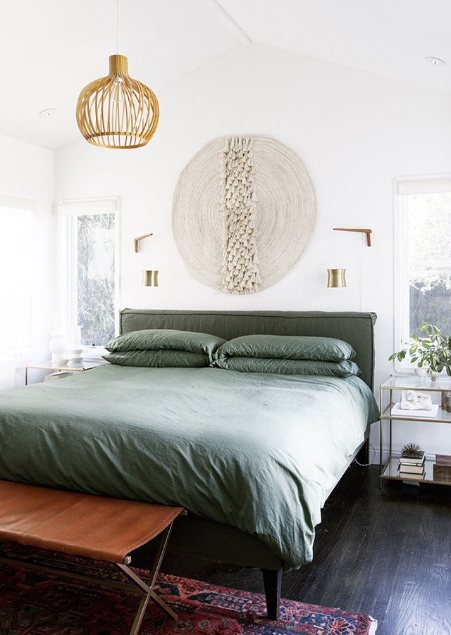 green bed pendant light bedroom