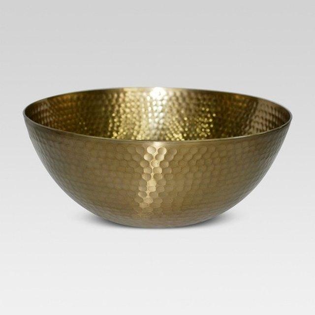 Hammered brass decorative bowl
