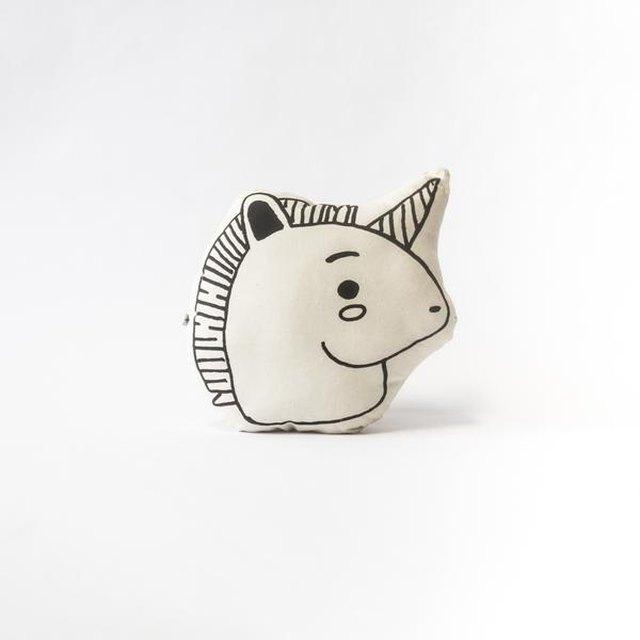 Black and white simple unicorn head pillow