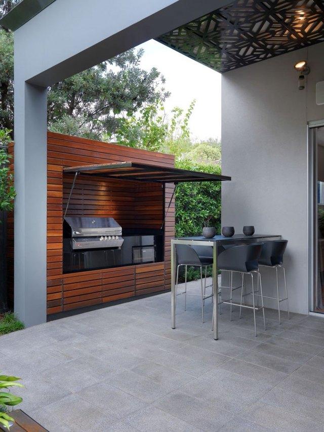 garage door outdoor kitchen patio